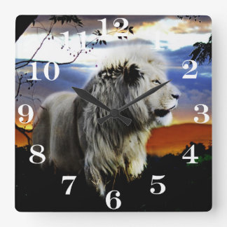 South Africa Lion in the Jungle Square Wall Clock