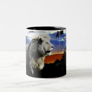 South Africa Lion in the Jungle Two-Tone Coffee Mug