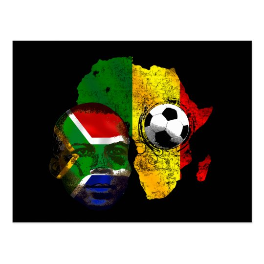 South Africa soccer lovers South AFrican flag face Postcard