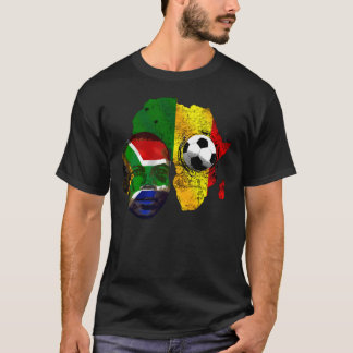 South Africa soccer lovers South AFrican flag face T-Shirt