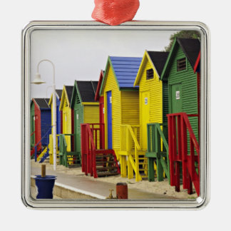 South Africa, Western Cape, St James. Colorful Silver-Colored Square Ornament