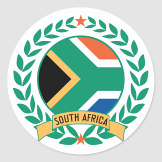 South Africa Wreath Classic Round Sticker