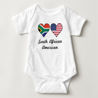 South African American Flag Hearts Baby Bodysuit