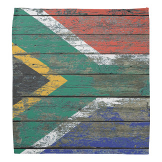 South African Flag on Rough Wood Boards Effect Do-rags