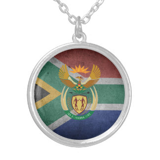 South African flag Silver Plated Necklace