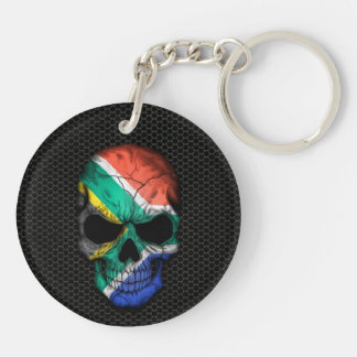 South African Flag Skull on Steel Mesh Graphic Keychain