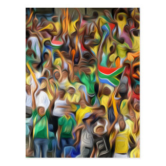 South African football fans oil paint effect,. Postcard