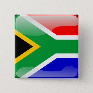 South African glossy flag 2 Inch Square Button