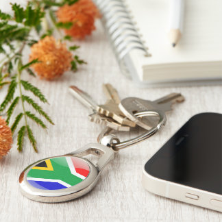 South African glossy flag Silver-Colored Oval Keychain