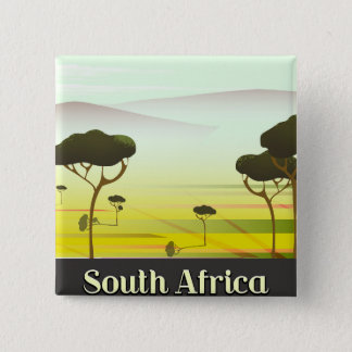 South African landscape evening travel poster 2 Inch Square Button