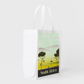 South African landscape evening travel poster Reusable Grocery Bag