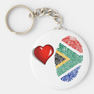 South African touch fingerprint flag Basic Round Button Keychain