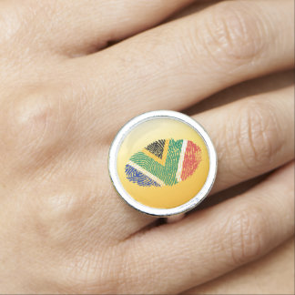 South African touch fingerprint flag Photo Ring