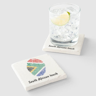 South African touch fingerprint flag Stone Coaster