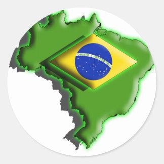 South America: Brazil (3d) Classic Round Sticker