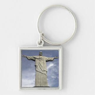 South America, Brazil, Rio de Janeiro. Christ Silver-Colored Square Keychain