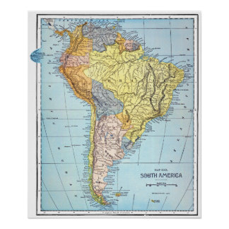 SOUTH AMERICA: MAP, c1890 Poster