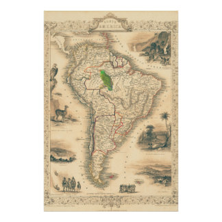 South America Map with Parrot Poster