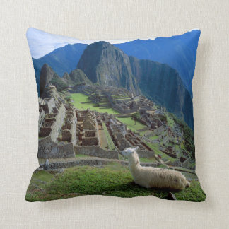 South America, Peru. A llama rests on a hill Throw Pillow