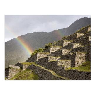 South America, Peru, Machu Picchu. Rainbows over Postcard