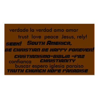 South america saving souls evangelism tract cards business card template