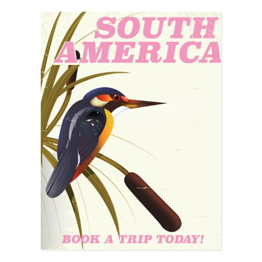 South America Vintage Kingfisher Travel print. Postcard