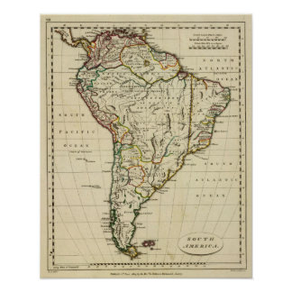 South America with boundaries outlined Poster