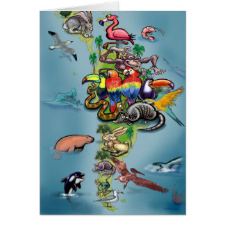South American Animals World Map Card