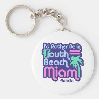 South Beach Miami Basic Round Button Keychain