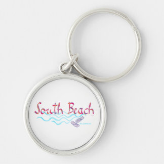 South Beach Miami Flip Flops Silver-Colored Round Keychain