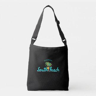South Beach Miami, Florida, Palms,Tropical, Black Crossbody Bag