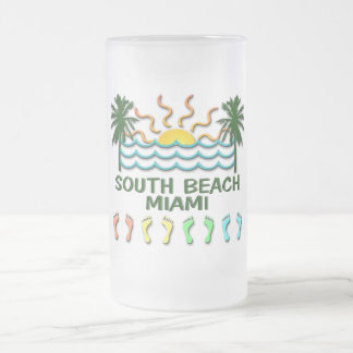 South Beach Miami Frosted Glass Beer Mug