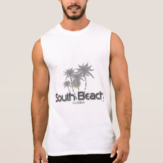 South Beach Miami Grey Palms Sleeveless Shirt
