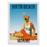 South Beach Miami Vintage Beach Poster