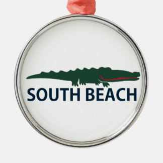 South Beach. Silver-Colored Round Ornament