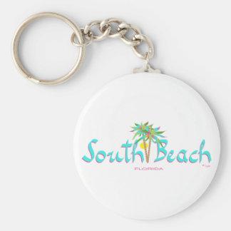 South Beach Sun Miami Basic Round Button Keychain
