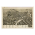 South Bend Indiana 1890 Antique Panoramic Map Poster