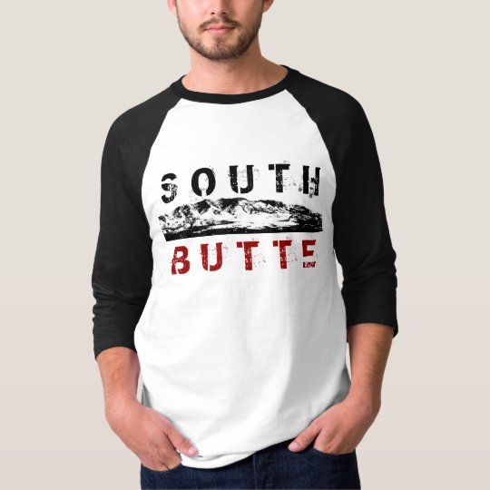 South Butte Middle Mountain Black Red Long Sleeve T-Shirt