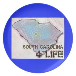 """South Carolina 4 Life"" State Map Pride Design Plate"