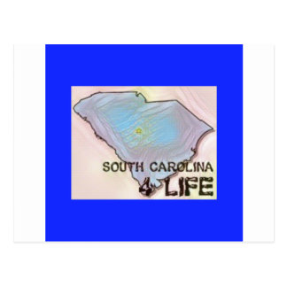 """South Carolina 4 Life"" State Map Pride Design Postcard"