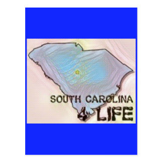"""South Carolina 4 Life"" State Map Pride Design Postcard"