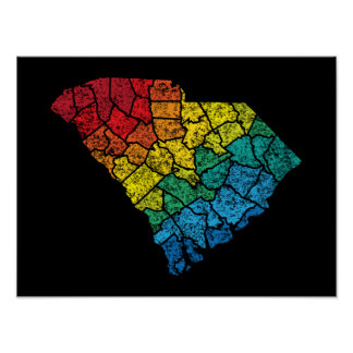 south carolina color counties poster