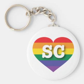 South Carolina Gay Pride Rainbow Heart - Big Love Keychain