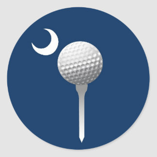 South Carolina Golfball and Crescent Classic Round Sticker