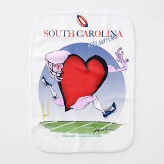 south carolina head heart, tony fernandes baby burp cloth