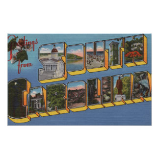 South Carolina - Large Letter Scenes Poster