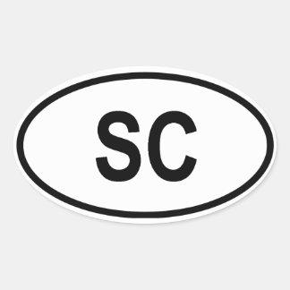 """South Carolina """"SC"""" Oval Sticker"""