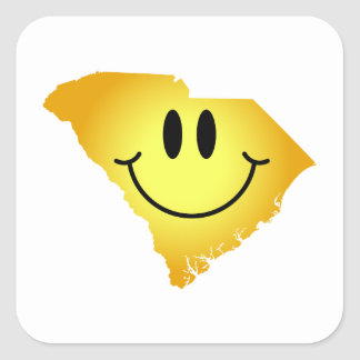 South Carolina Smiley Face Square Sticker