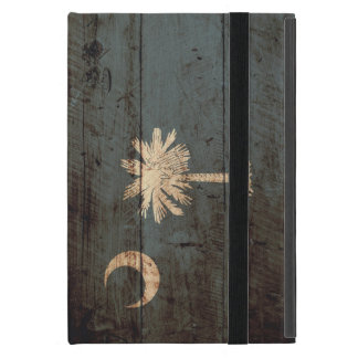 South Carolina State Flag on Old Wood Grain iPad Mini Cover