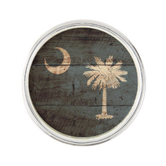 South Carolina State Flag on Old Wood Grain Lapel Pin